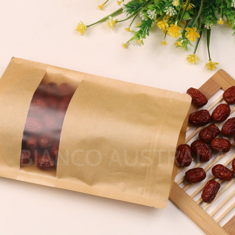 Kraft Paper Stand Up Bags, Plastic Lined, With Frosted Rectangle Window, Zip Lock, Various Sizes ( From 28g to 1KG )