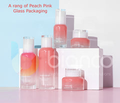 A Range of Peach Pink Glass Jars & Bottle with Screw or Lotion Pump Cap (Jar: 30g / 50g; Bottle: 40ml/100ml/120ml)