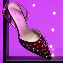 Load image into Gallery viewer, Spotlight Patent Leather Studded Heels - Wine