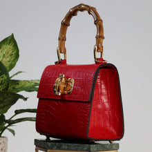 Load image into Gallery viewer, Kamala midi embossed croc effect tote - Red