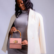 Load image into Gallery viewer, Kamala midi embossed croc effect tote - Blush Pink