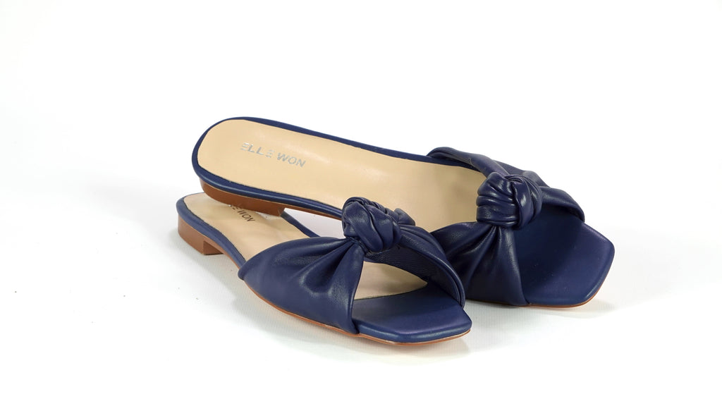 Rocco twist leather slide sandals - Navy