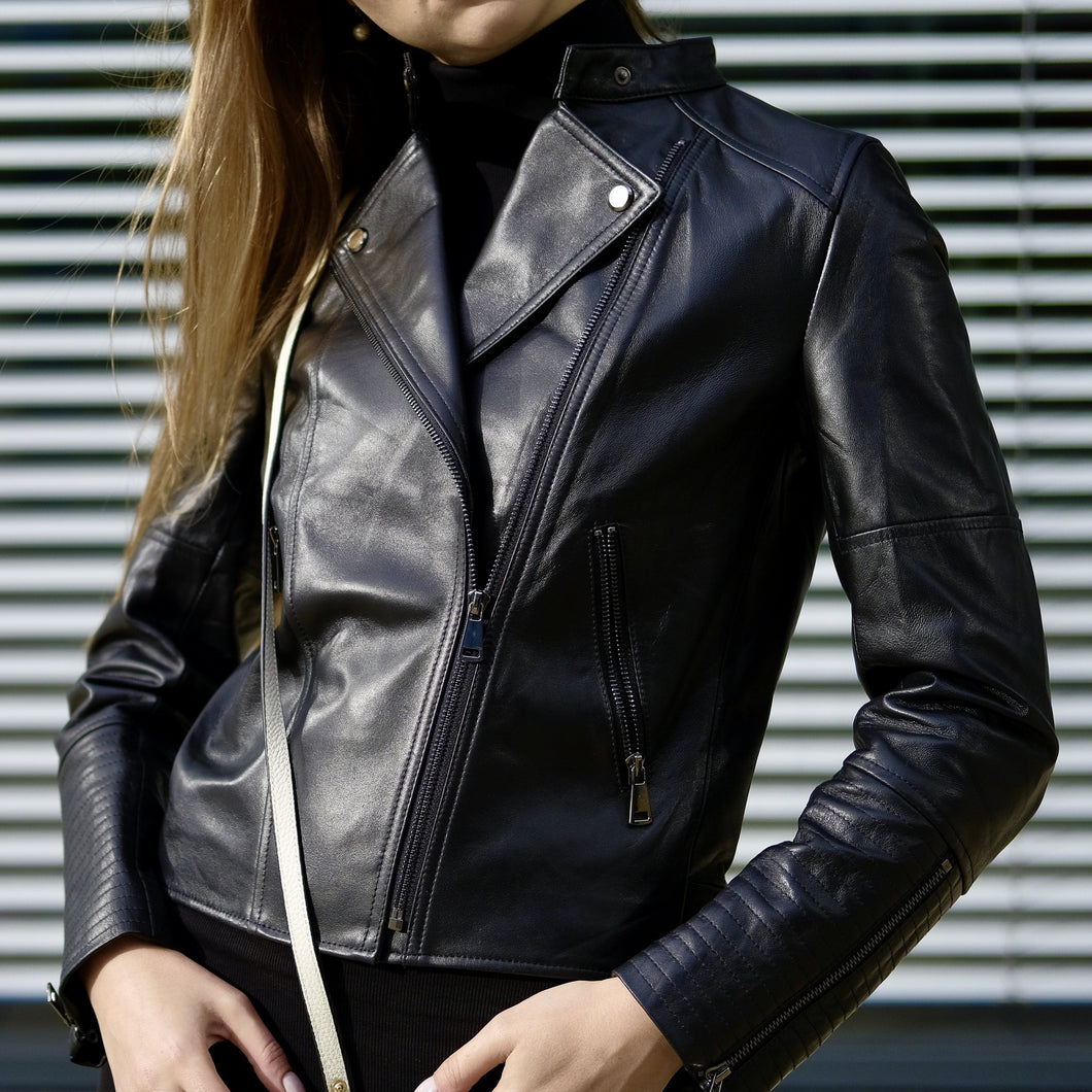 'Michelle' Leather Jacket - Black