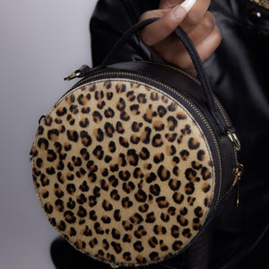 Statement Circle CrossBody Bags - Leopard