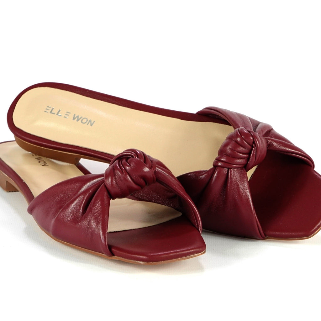 Rocco twist leather slide sandals - Burgundy