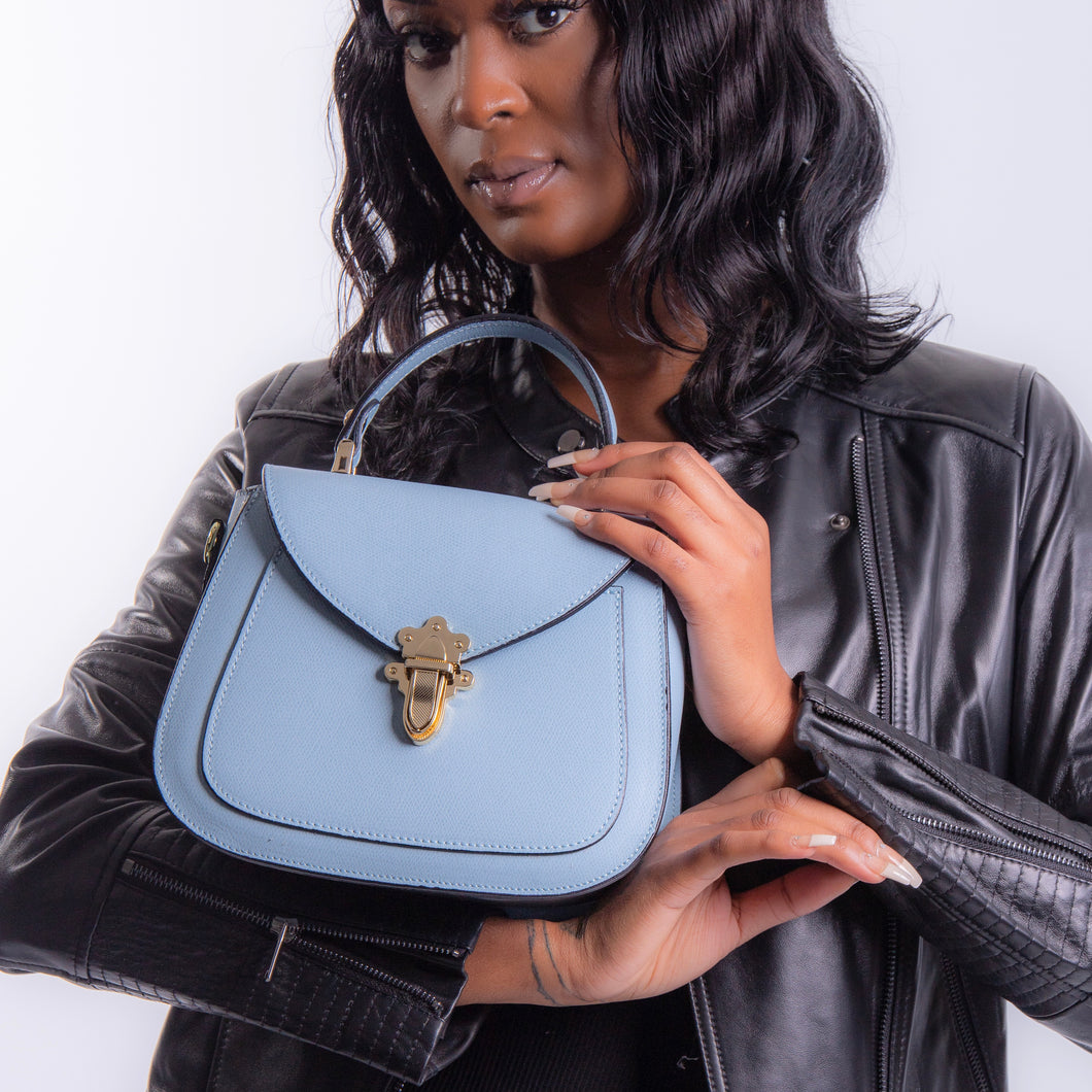 Elise Small Satchel Handbag - Powder Blue