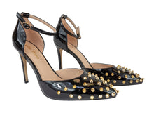 Load image into Gallery viewer, Spotlight Patent Leather Studded Heels - Black