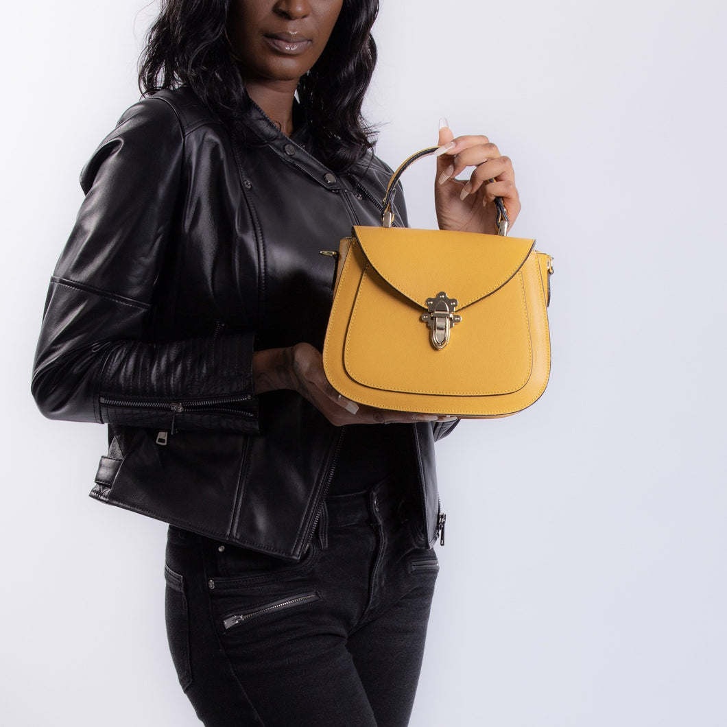 Elise Small Satchel Handbag - Mustard