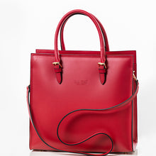 Load image into Gallery viewer, Deep red Medium sized satchel handbag and shoulder bag
