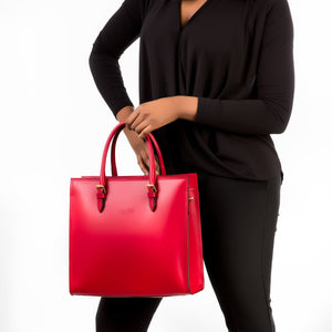 Deep red Medium sized satchel handbag and shoulder bag