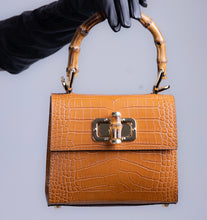 Load image into Gallery viewer, Kamala midi embossed croc effect tote - Tan Brown