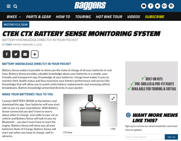 CTEK CTX BATTERY SENSE MONITORING SYSTEM via BaggersMag.com