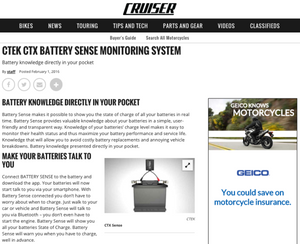 CTEK CTX BATTERY SENSE MONITORING SYSTEM via MotorcycleCruiser.com