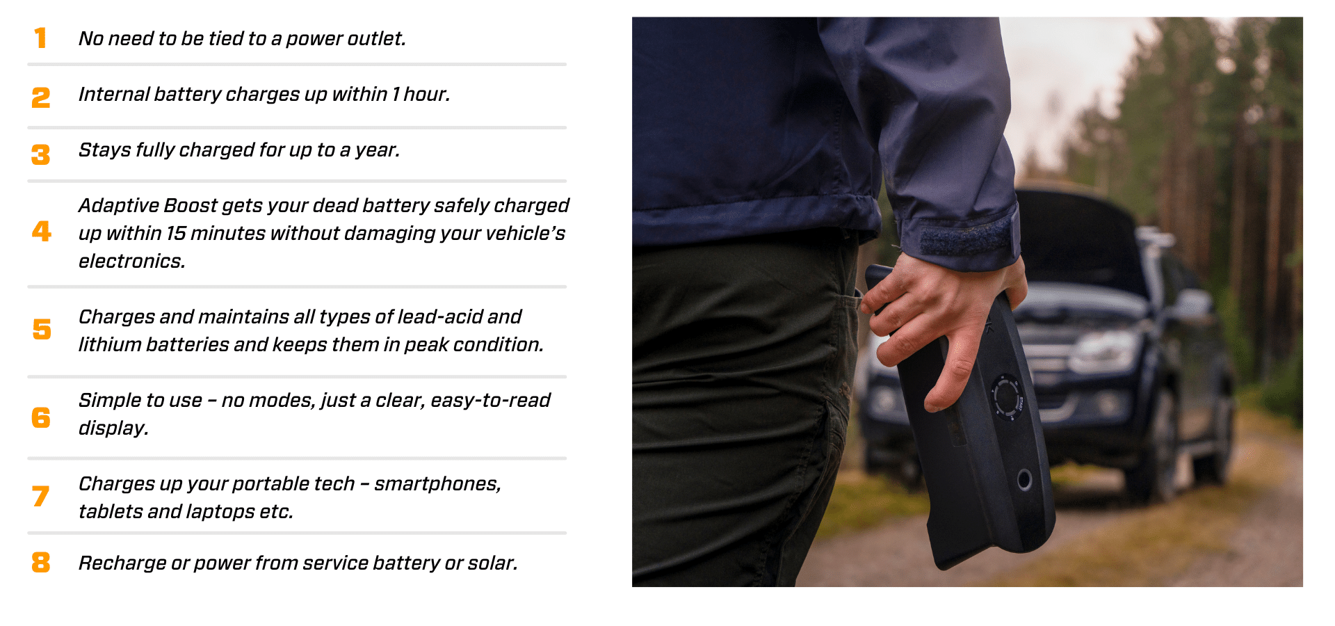 8 points about the CS FREE Portable Battery Charger with Adaptive Boost