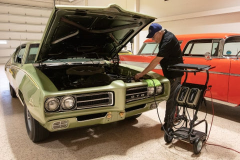 CTEK professional charger used on a classic car at the American Muscle Car Museum