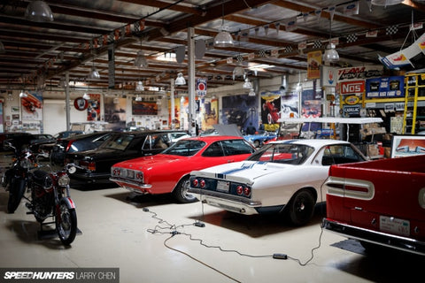 CTEK Chargers hooked to vehicles in Jay Leno's garage photo by Larry Chen