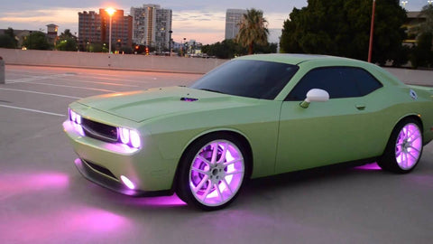 Light green Dodge Charger with purple lighting custom built by Projekt Cars