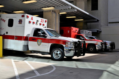 EMS Vehicles lined up