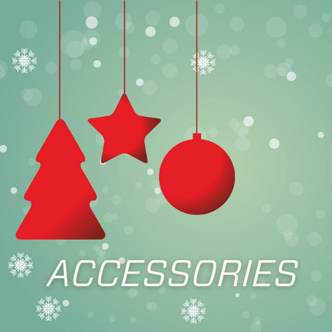 Accessories written on green back drop with red ornaments hanging