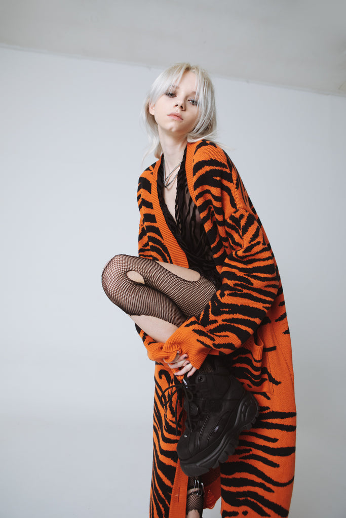 tiger long cardigan