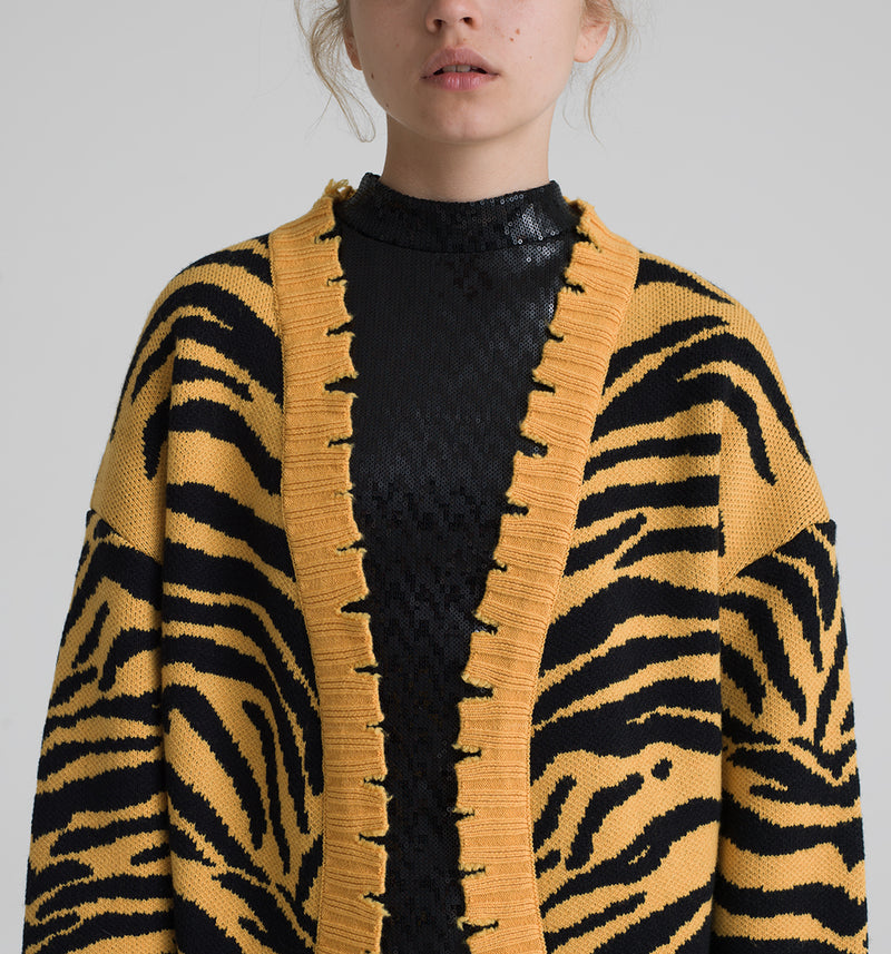 Animalier jacquard long cardigan with pockets and destroyed ribbed cuffs and bottom