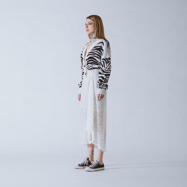 Janis cropped white/black tiger cardigan