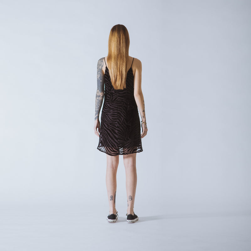 Nancy short black devoré-velvet dress