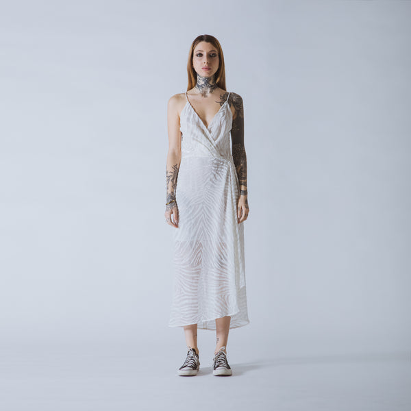 Ann long white devoré-velvet dress