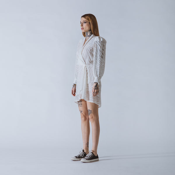 Suzi short white devoré-velvet dress