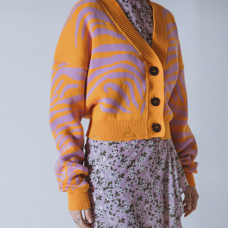 Janis cropped orange/lilac tiger cardigan