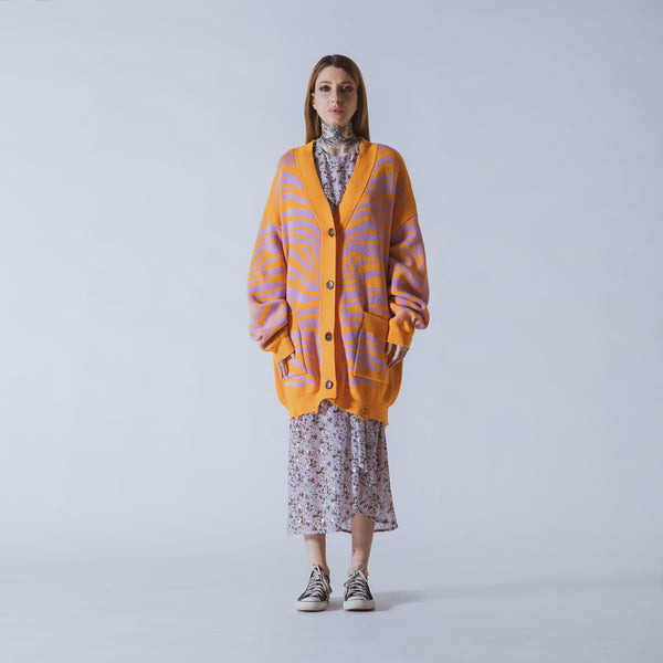 Patti long orange/lilac tiger cardigan
