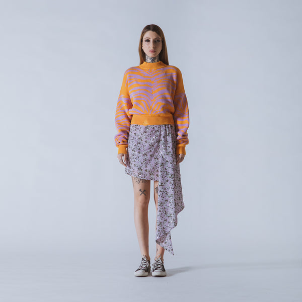 Courtney cropped orange/lilac tiger jumper