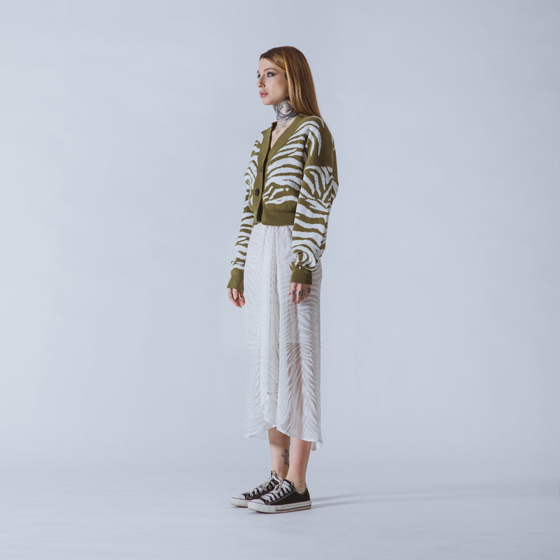 Janis cropped green/white tiger cardigan