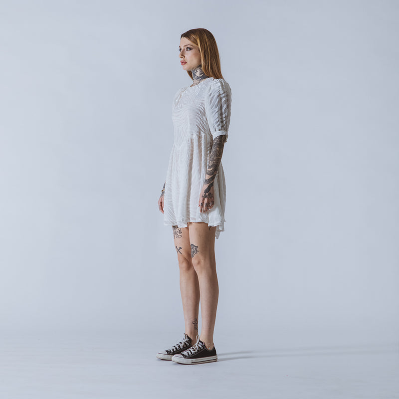 Chrissie mini white devoré-velvet dress