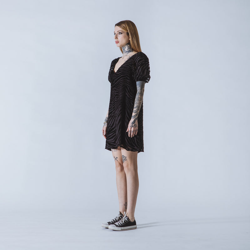Debbie mini black devoré-velvet dress