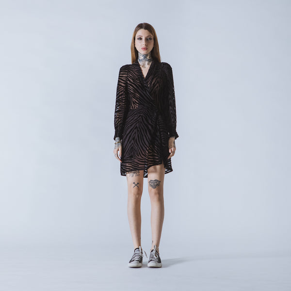 Suzi short black devoré-velvet dress