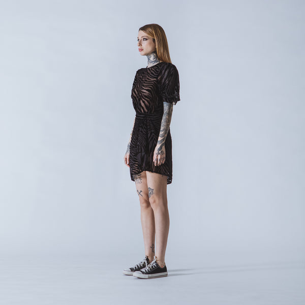 Joan short black devoré-velvet dress