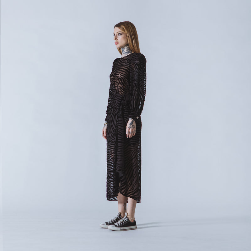 Dolores long black devoré-velvet dress