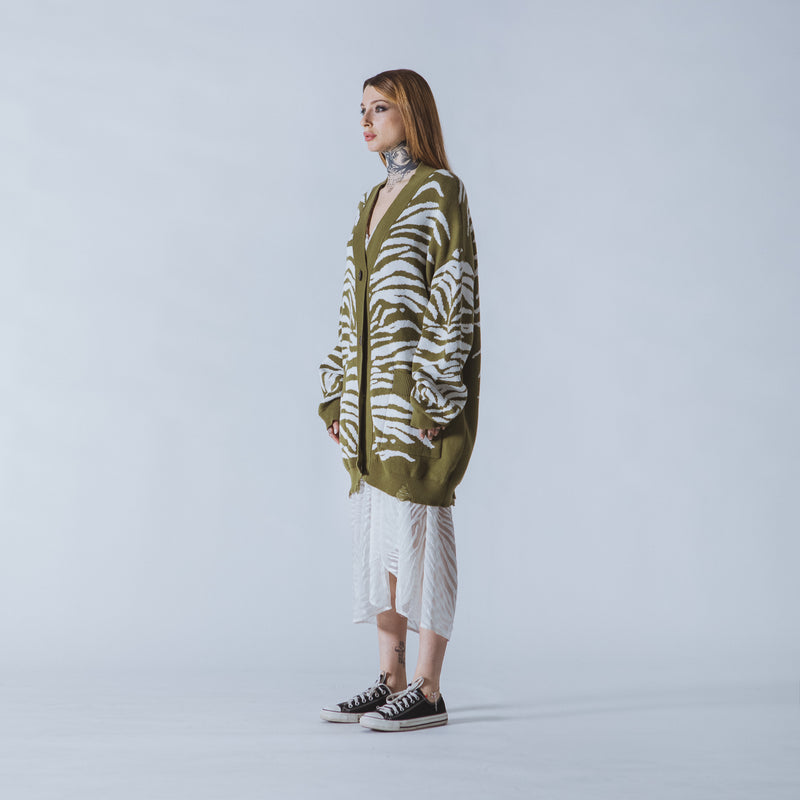 Patti long green/white tiger cardigan