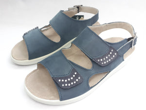 Womens Blue Leather Sandals