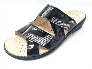 Womens Black Slip-On Sandals