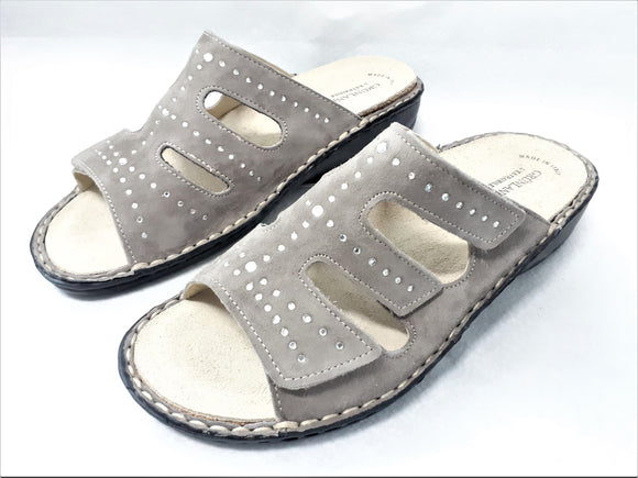 Womens Grey Slip-On Sandals