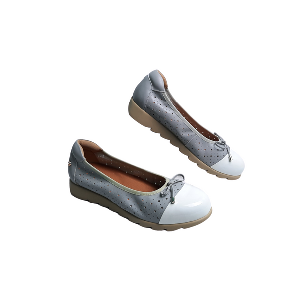 Womens Grey Leather Shoes