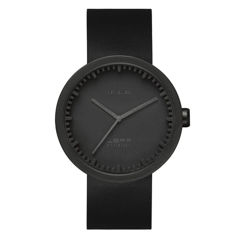 Watch - Tube Watch D42 With Black Leather Strap - Black - LEFF