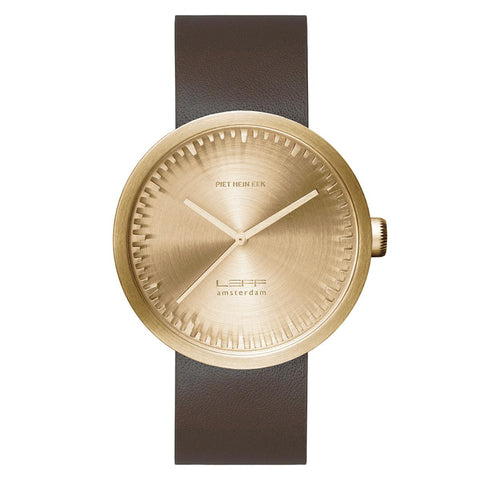 Watch - Tube Watch D42 With Brown Leather Strap - Brass - LEFF