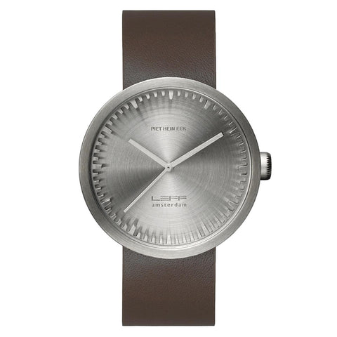 Watch - Tube Watch D42 With Brown Leather Strap - Steel - LEFF