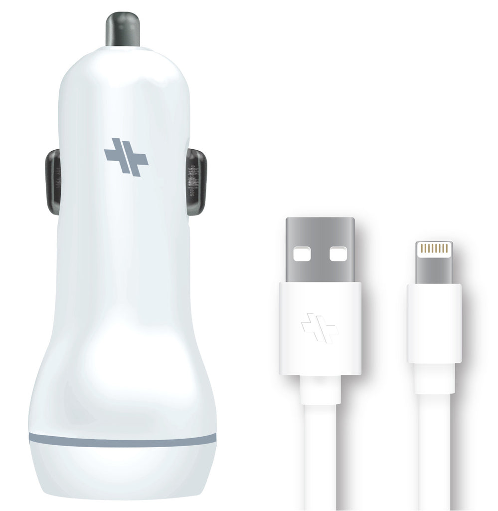 swiss-mobility-universal-car-charger-3-4-amp-dual-port-with-lightning-cable-high-gloss-white
