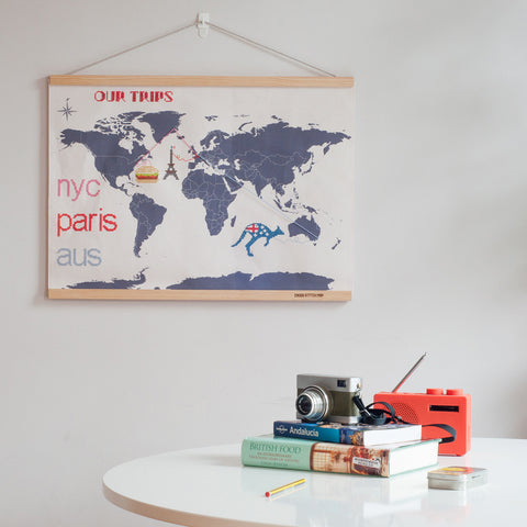 Cross Stitch World Travel Map