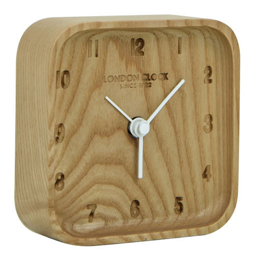 Alarm Clock - Blokk Wood 10cm - London Clock Company