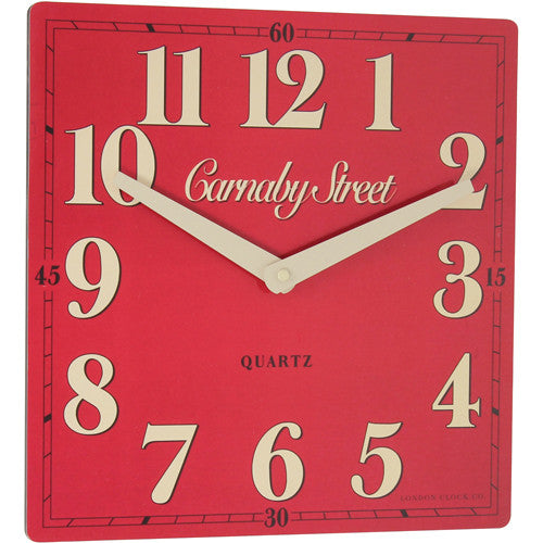 london-clock-company-retro-carnaby-street-red-wall-clock-30cm